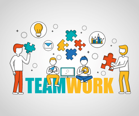 people teamwork boys sitting holding puzzle pieces vector illustration