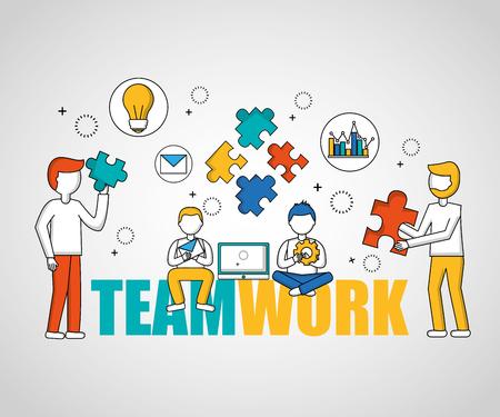 Gente, trabajo en equipo, niños, sentado, tenencia, rompecabezas, piezas, vector, ilustración Ilustración de vector