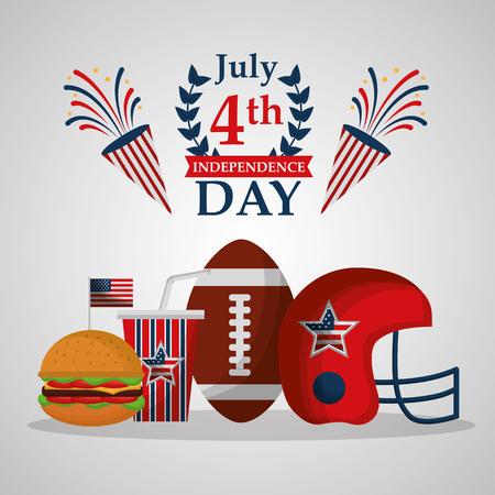 american independence day football ball helmet burger soda celebrating party vector illustration