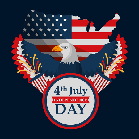 eagle map badge flag american independence day vector illustration Illustration