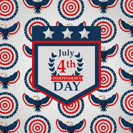 pennant eagle decoration american independence background vector illustration