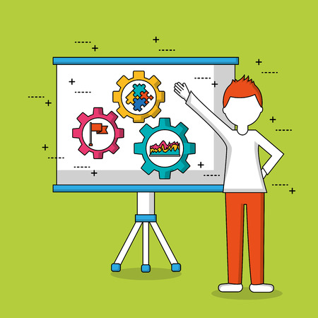 people teamwork boy pointed board with tools inside flag statistics puzzle gears vector illustration
