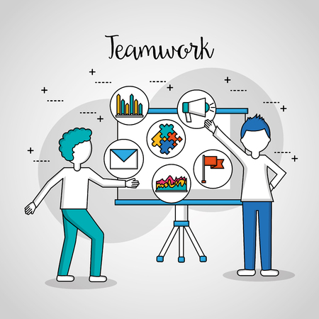 people teamwork boys pointed board things work tools vector illustration