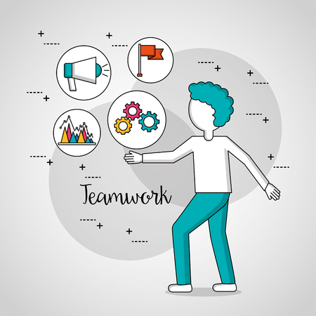 people teamwork boy with tools graphs vector illustration