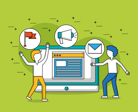 people teamwork computer with stickers document vector illustration