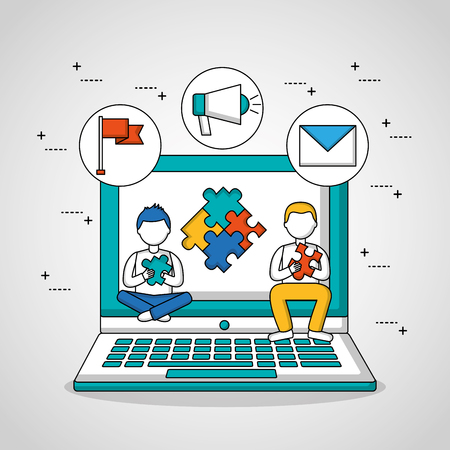 people teamwork boys sitting in the computer screen puzzle vector illustration