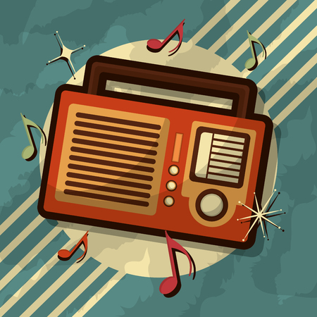 retro vintage radio music note device vector illustration