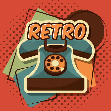 retro vintage telephone call communication device vector illustration