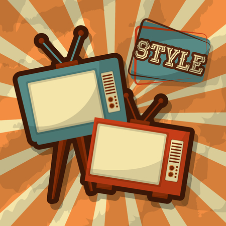 retro vintage television devices old fashioned style vector illustration