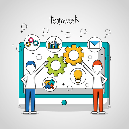 people teamwork techology in the screen tools gears boys pointed vector illustration Çizim