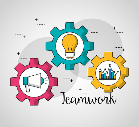 teamwork gears inside megaphone statistics bulb vector illustration