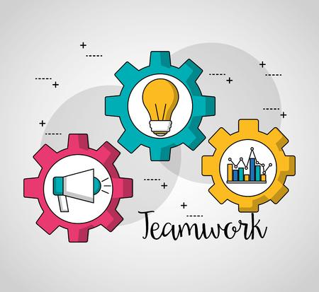 teamwork gears inside megaphone statistics bulb vector illustration