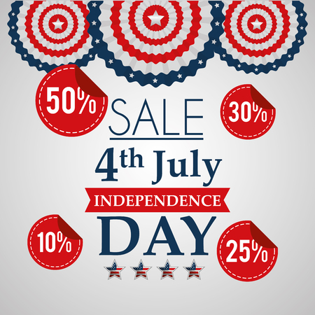 sale 4 july american independence day offers discount commerce vector illustration