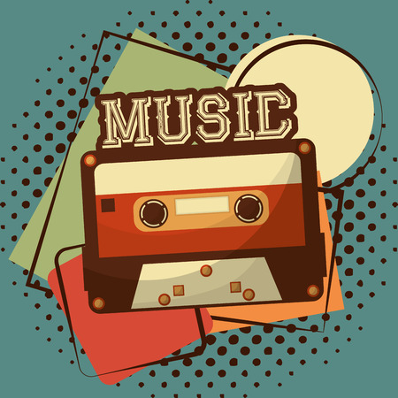 retro vintage cassette tape record halftone classic vector illustration Stock Illustratie