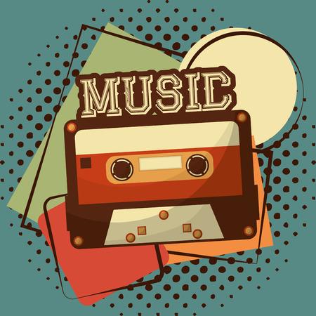 retro vintage cassettebandje halftoon klassieke vector illustratie Vector Illustratie