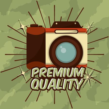 retro vintage photographic camera premium quality device vector illustration