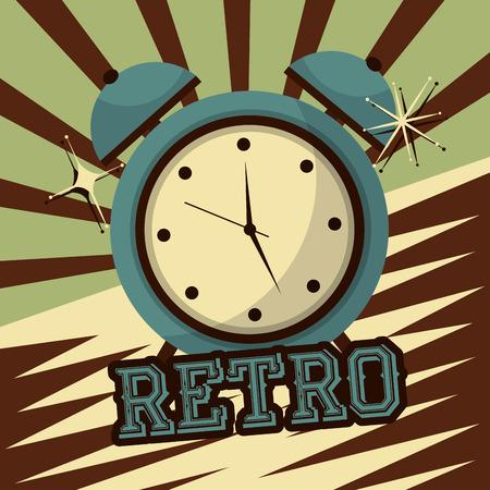 retro vintage clock alarm device classic vector illustration