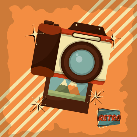 retro vintage photo camera device stripes background vector illustration Stock Vector - 102971970