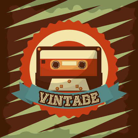 retro vintage musical cassette tape record emblem vector illustration