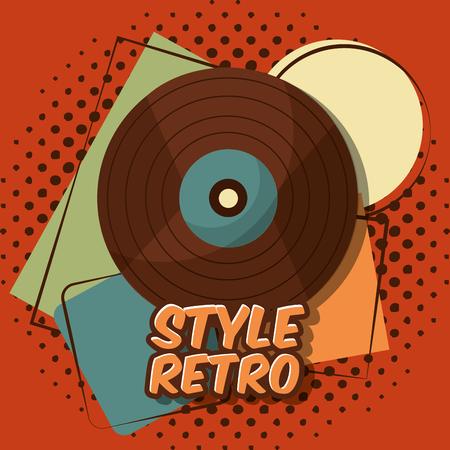 Ilustración de vector de fondo de semitono de música de registro de lp de vinilo vintage retro