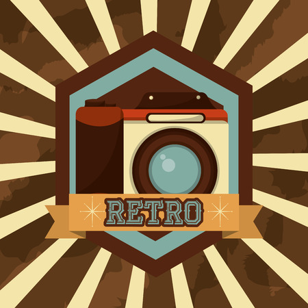 retro vintage photographic camera device emblem vector illustration