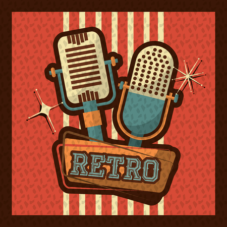 retro vintage microphone audio voice device style background vector illustration Illustration
