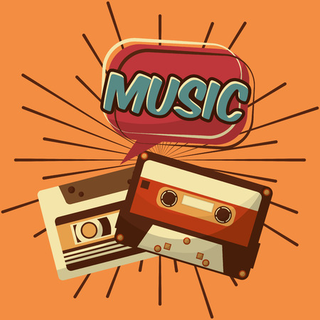 retro vintage music cassettes tape record classic vector illustration Çizim