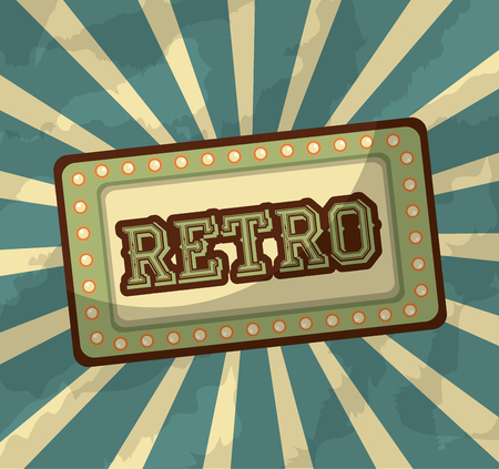 retro vintage billboard classic style sunburst background vector illustration