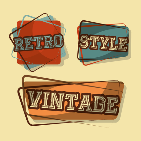 retro vintage badges style words classic fonts vector illustration