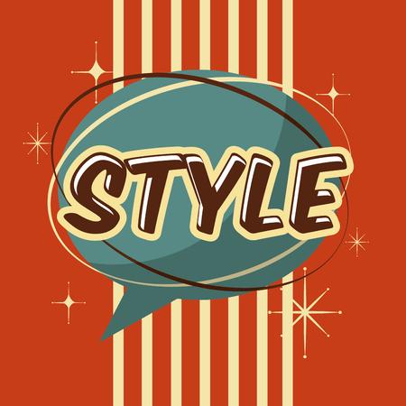 retro vintage style speech bubble stripes decoration vector illustration Illustration