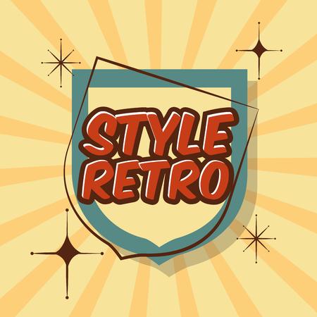 retro style vintage label sunburst bright ornament vector illustration Illustration