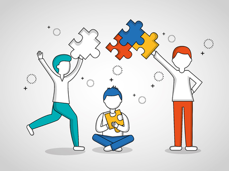 people teamwork boys holding many puzzle pieces vector illustration