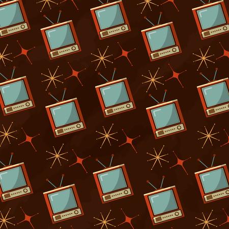 television device retro vintage bright background vector illustration