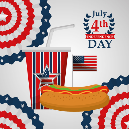 american independence day hot dog and soda flag patriotism vector illustration