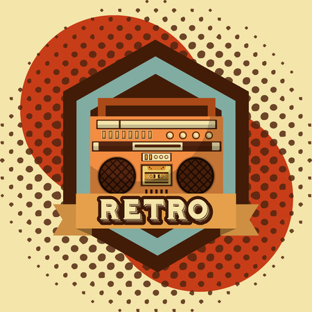 boombox radio cassette retro vintage halftone background vector illustration Illustration