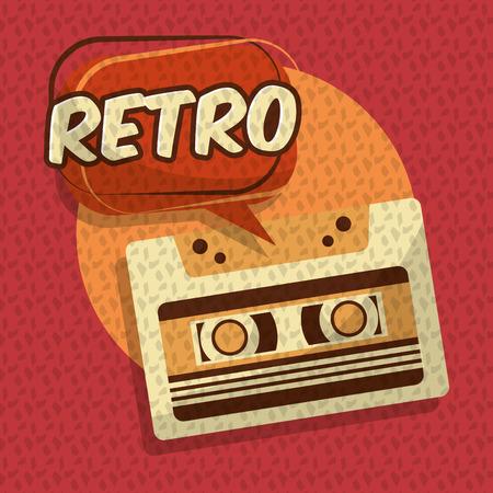 retro vintage music cassette audio speech bubble vector illustration Foto de archivo - 102972068