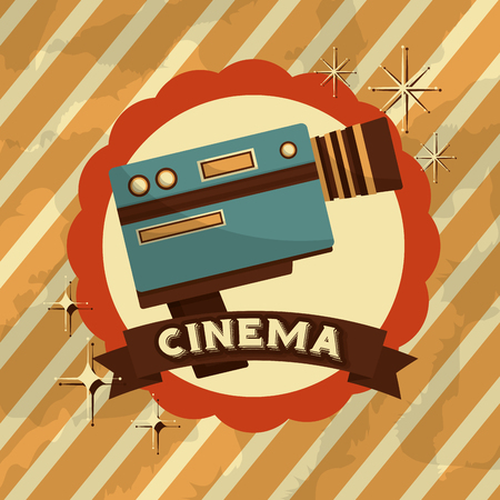 retro vintage video camera record emblem vector illustration Illustration