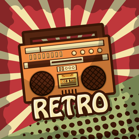 retro vintage boombox radio stereo cassette vector illustration