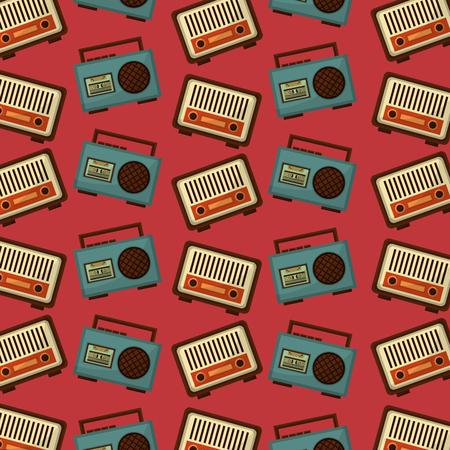 retro vintage music radio boombox stereo cassette background vector illustration 일러스트