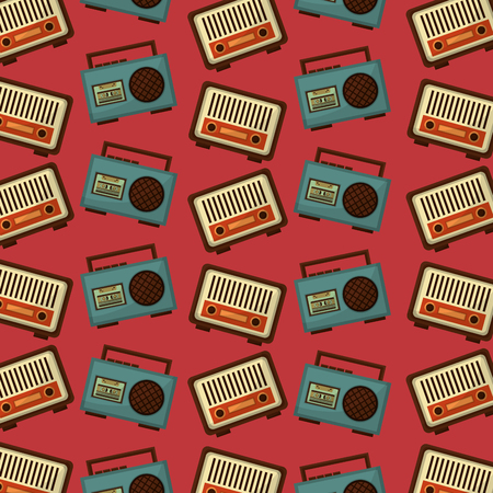 retro vintage music radio boombox stereo cassette background vector illustration Illustration