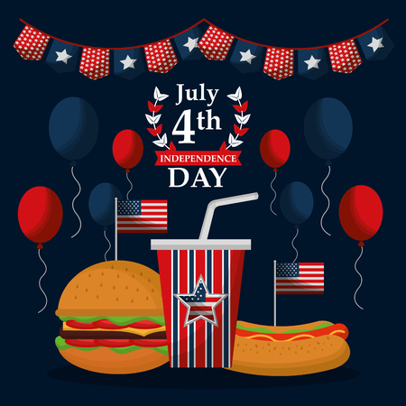fast food celebration 4 july american independence day vector illustration