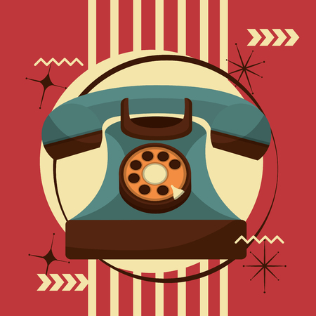 telephone communication device retro vintage vector illustration