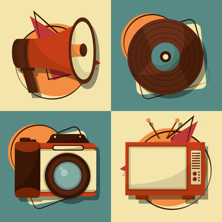 set of retro vintage devices vector illustration