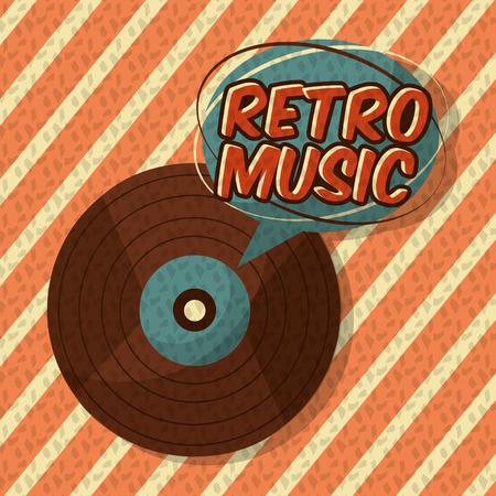 retro vintage music vinyl disk stripes style vector illustration