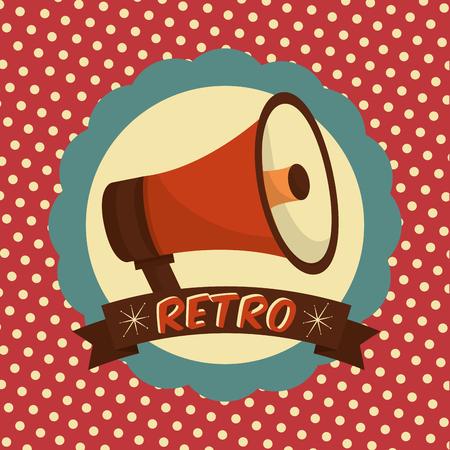 retro vintage megaphone label dotted background style vector illustration Çizim