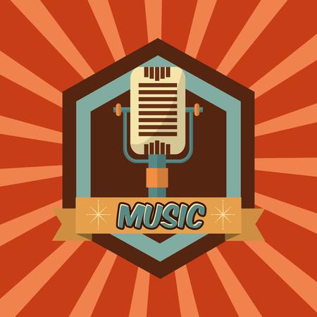 retro vintage microphone music sound emblem vector illustration Illustration