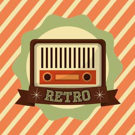 retro vintage radio music antique emblem vector illustration