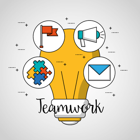 teamwork big bulb stickers puzzle megaphone flag message vector illustration