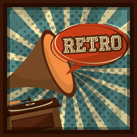 musical gramophone vinyl disk retro vintage vector illustration