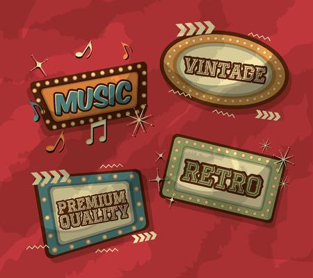 billboards with light style premium music retro vintage vector illustration Ilustração